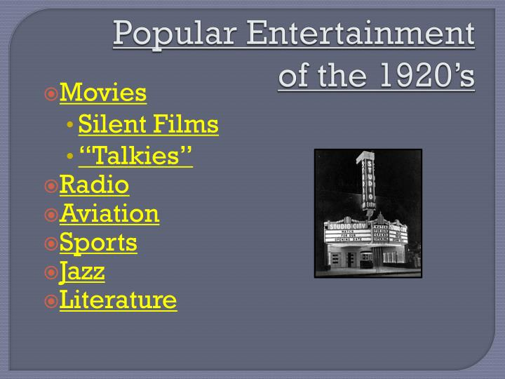 popular entertainment of the 1920 s n.