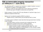 tds on immovable property transaction s 194ia w e f 1 june 2013