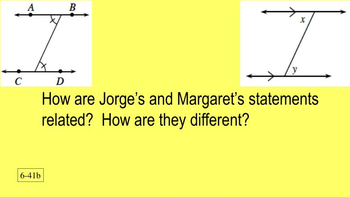 How are Jorge's and Margaret's statements related?  How are they different?