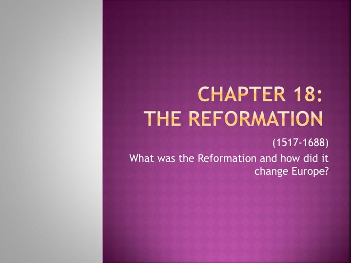 chapter 18 the reformation n.
