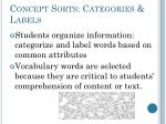 concept sorts categories labels