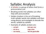 syllabic analysis