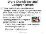 word knowledge and comprehension