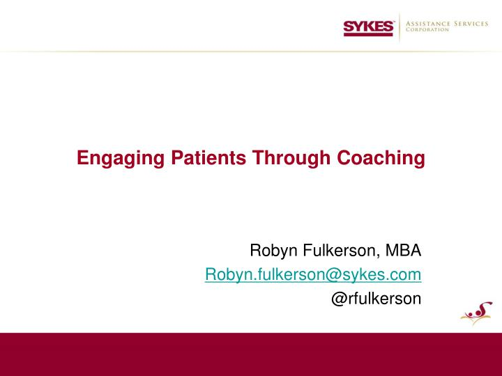 engaging patients through coaching n.