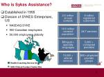 who is sykes assistance