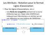 les attributs notation pour le format ligne d association