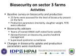 biosecurity on sector 3 farms activities