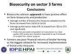 biosecurity on sector 3 farms c onclusions