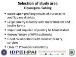 selection of study area cipunagara subang