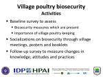 village poultry biosecurity activities