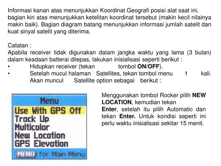 Informasi kanan atas menunjukkan Koordinat Geografi posisi alat saat ini,