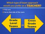 which type of team approach would you prefer as a teacher