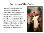 purposes of the order