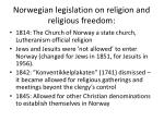 norwegian legislation on religion and religious freedom