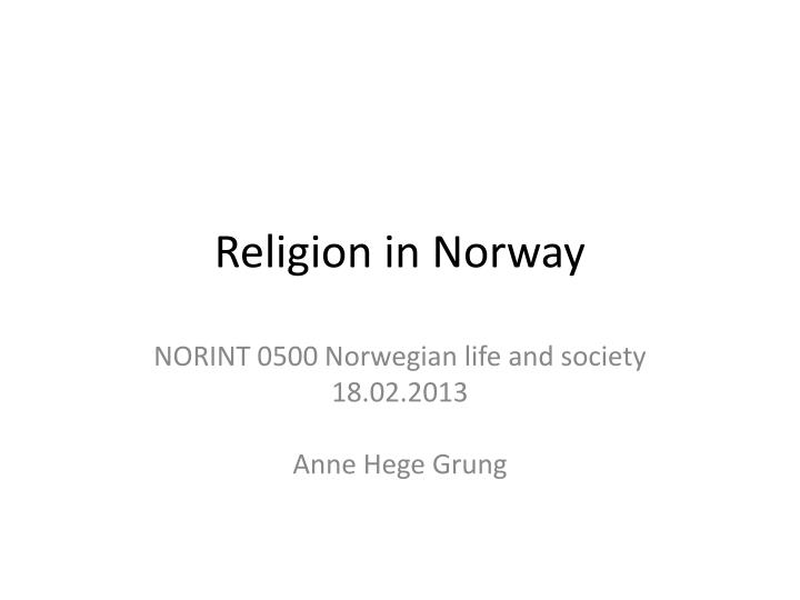 religion in norway n.