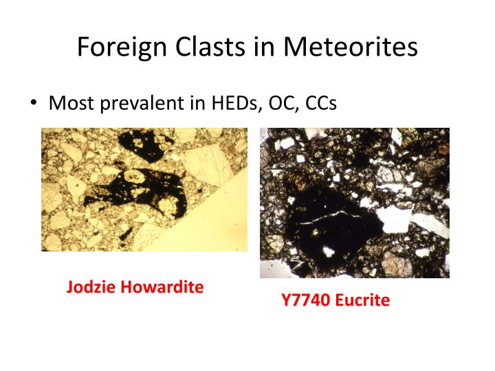 Foreign Clasts in Meteorites