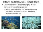 effects on organisms coral reefs