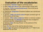 evaluation of the vocabularies