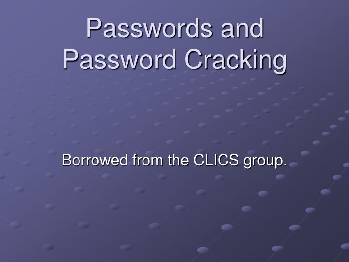 passwords and password cracking n.