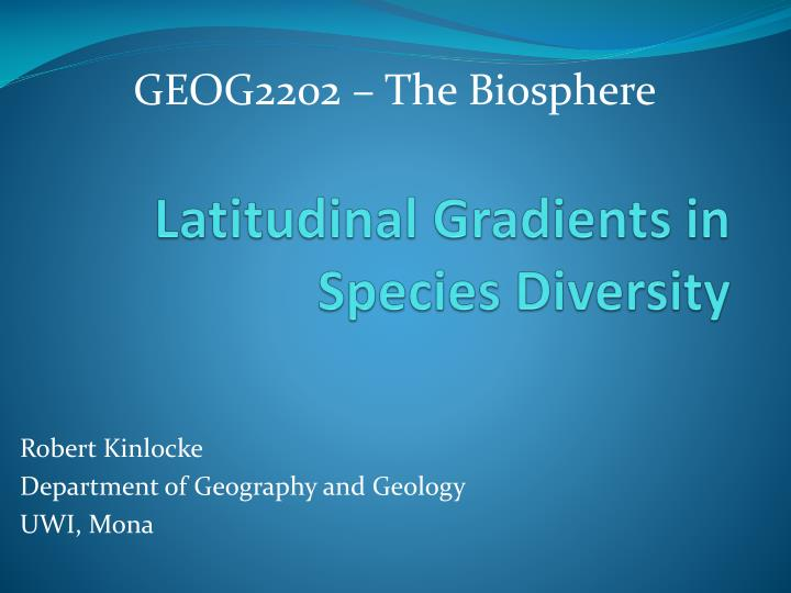 latitudinal gradients in species diversity n.