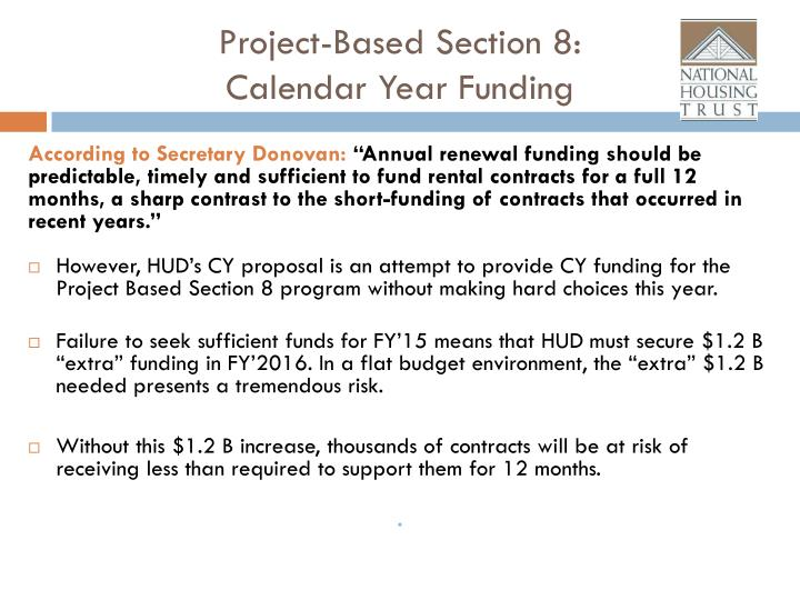 project based section 8 calendar year funding n.