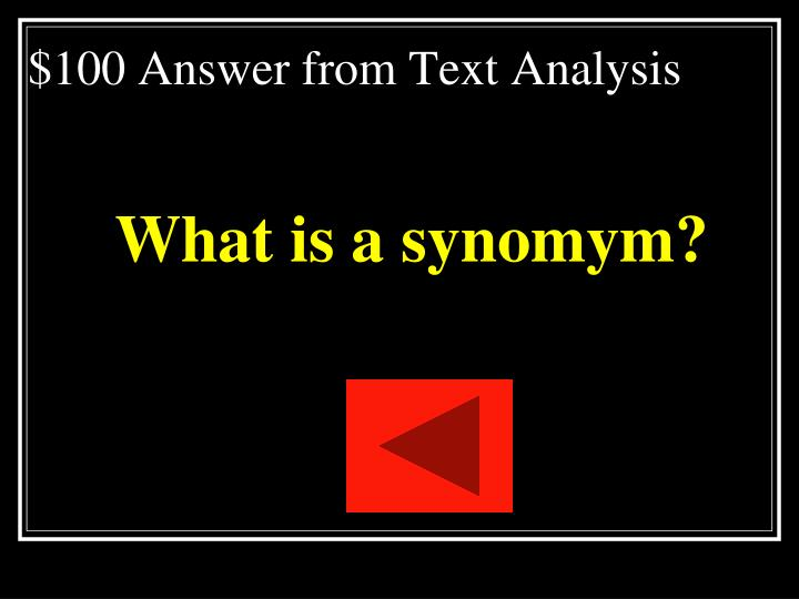 $100 Answer from Text Analysis