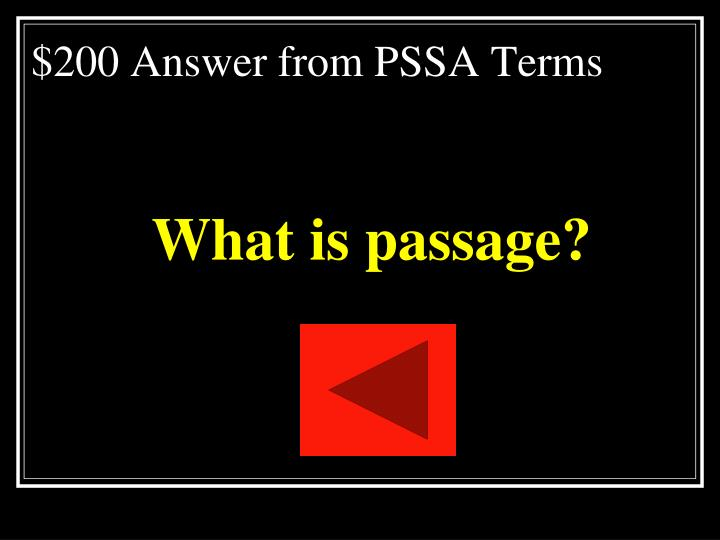 $200 Answer from PSSA Terms