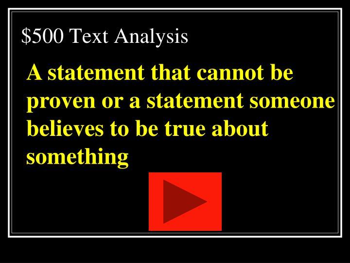 $500 Text Analysis