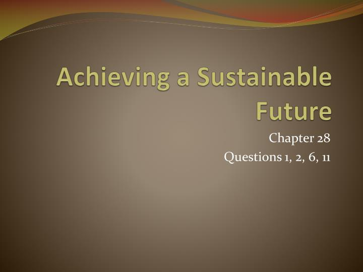 achieving a sustainable future n.