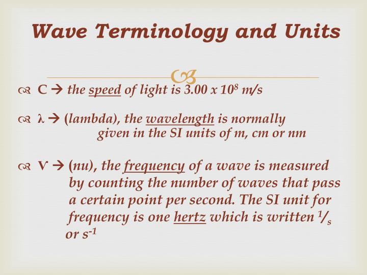 Wave Terminology and Units
