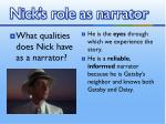 nick s role as narrator1