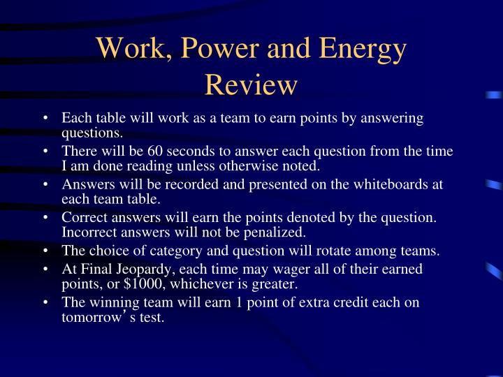 work power and energy review n.