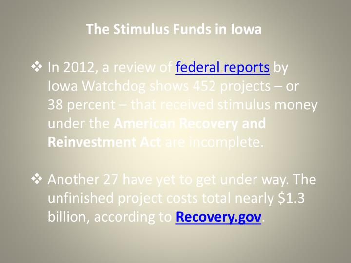 The Stimulus Funds in Iowa