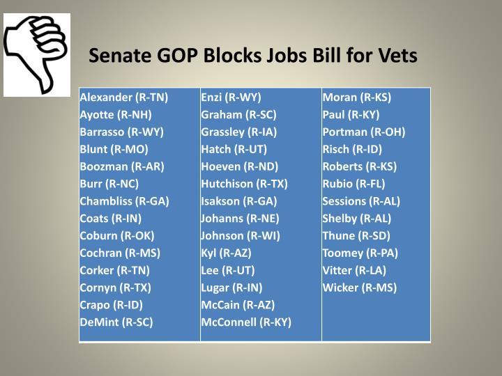 Senate GOP Blocks Jobs Bill for Vets