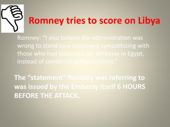 Romney tries to score on Libya