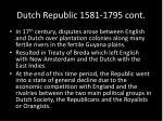 dutch republic 1581 1795 cont