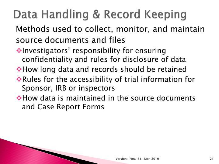 Data Handling & Record Keeping