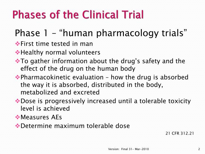 Phases of the clinical trial