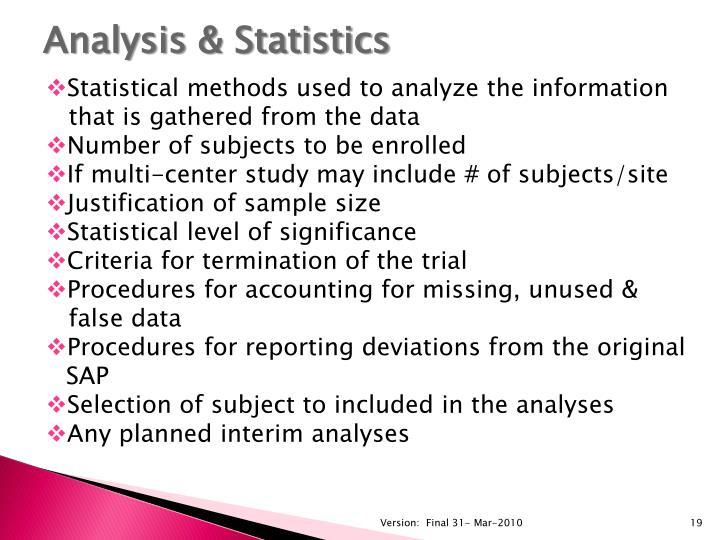 Analysis & Statistics