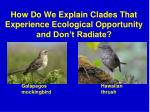how do we explain clades that experience ecological opportunity and don t radiate