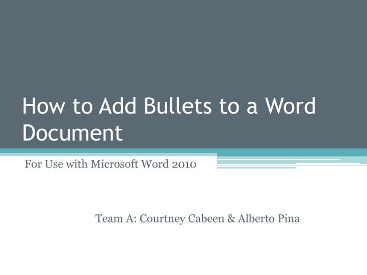 how to add bullets to a word document n.