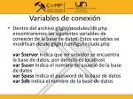 variables de conexi n