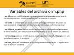 variables del archivo orm php