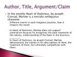 author title argument claim