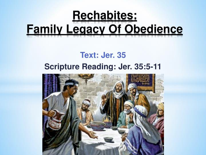 rechabites family legacy of obedience n.