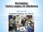 rechabites family legacy of obedience