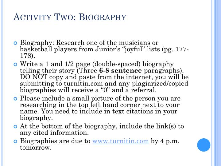 Activity Two: Biography