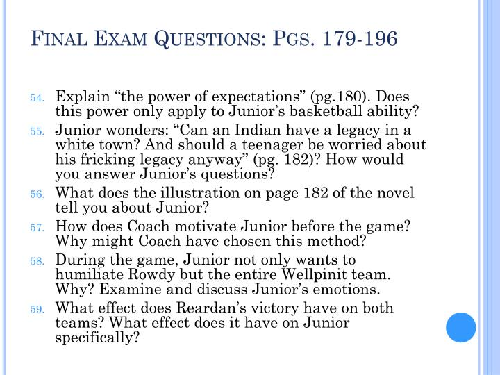 Final Exam Questions: Pgs. 179-196