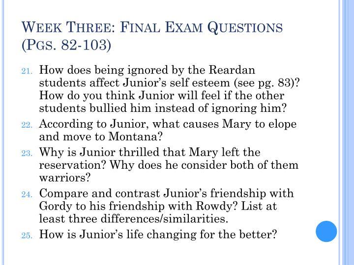 Week Three: Final Exam Questions (Pgs. 82-103)