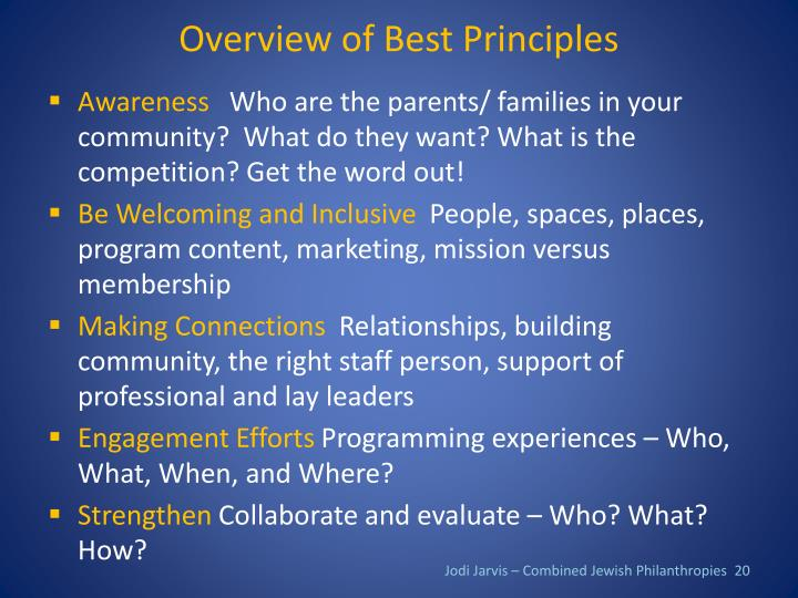 Overview of Best Principles